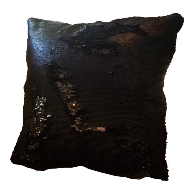 Black Sequin Throw Pillow For Sale