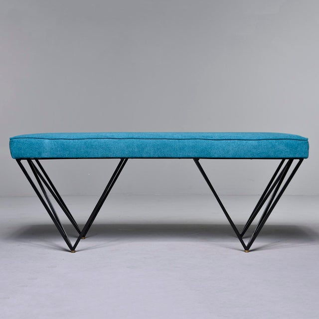 Italian Mid-Century Style Bench With Teal Fabric and Black Metal Legs For Sale - Image 4 of 10