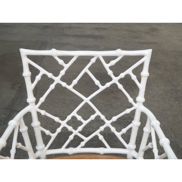 Asian Vintage Mid Century Modern White Faux Bamboo Chinese Chippendale Swivel Chair For Sale - Image 3 of 8