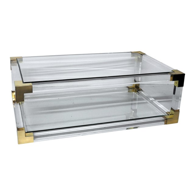 Charles Hollis Jones Attributed Lucite Coffee Table For Sale