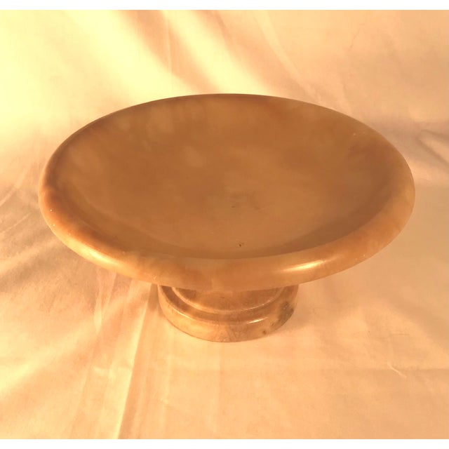 Stone Vintage 1930s Italian Alabaster Footed Bowl Pedestal Dish Centerpiece For Sale - Image 7 of 8