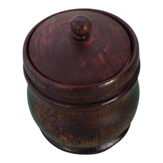 Antique 1920s French Oak Tobacco Jar with Ceramic Cup Liner For Sale
