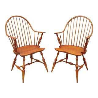 Antique d.r. Dimes Wooden Windsor Bow Back Continuous Arm Dining Chairs - a Pair For Sale