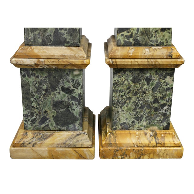 Large Italian Grand Tour Verde Antico and Siena Marble Obelisks - a Pair For Sale - Image 4 of 8