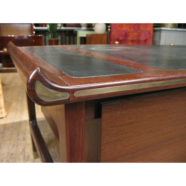 Selig Executive Desk in Wenge & Brass by Kofod Larsen For Sale - Image 4 of 12