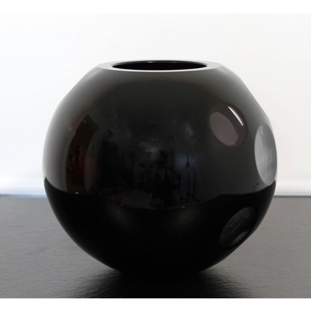 For your consideration is a beautiful, black glass, Mazzega Murano signed art sculpture bowl. In excellent condition. The...