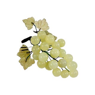 Pale Jade Green Hand Carved Stone Grape Cluster For Sale