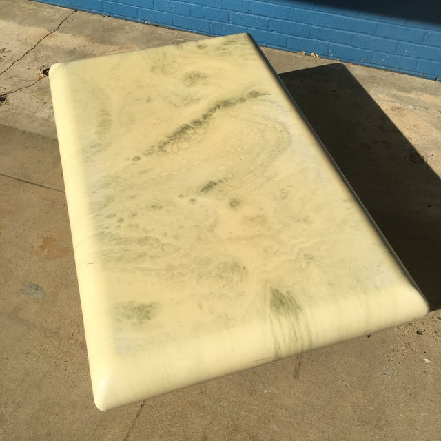 Art Deco Post-Modern Bullnose Marbleized Lacquer Coffee Table For Sale - Image 3 of 10