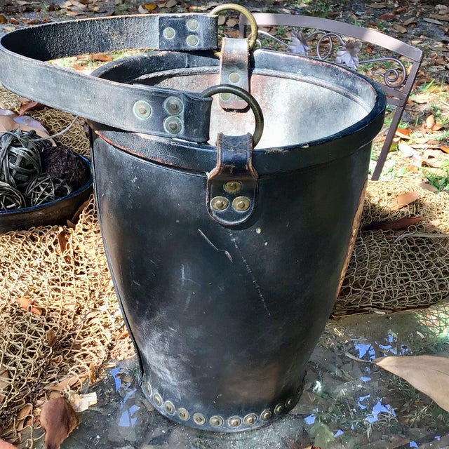 Mid 20th Century Leather Fire Bucket With Brass Rivets and Crest For Sale - Image 5 of 11