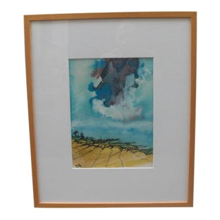 1980s Abstract Landscape Watercolor Painting For Sale