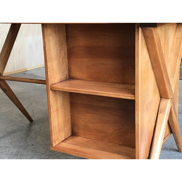 1950's Maple X-Leg Desk With Bookcase For Sale - Image 12 of 13