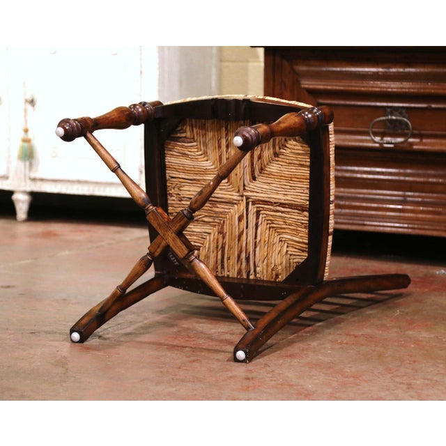 Country French Carved Walnut Ladder Back Chairs With Rush Seat, Set of Six For Sale - Image 10 of 11