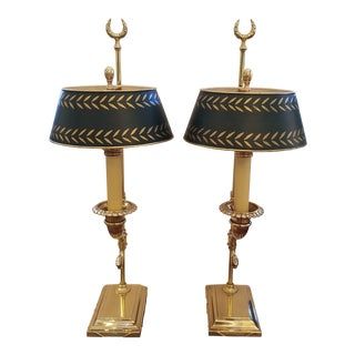 Vintage Brass Neoclassical Chapman Cornacopia Form Candlestick Lamps Witn Green Tole Shades - a Pair For Sale