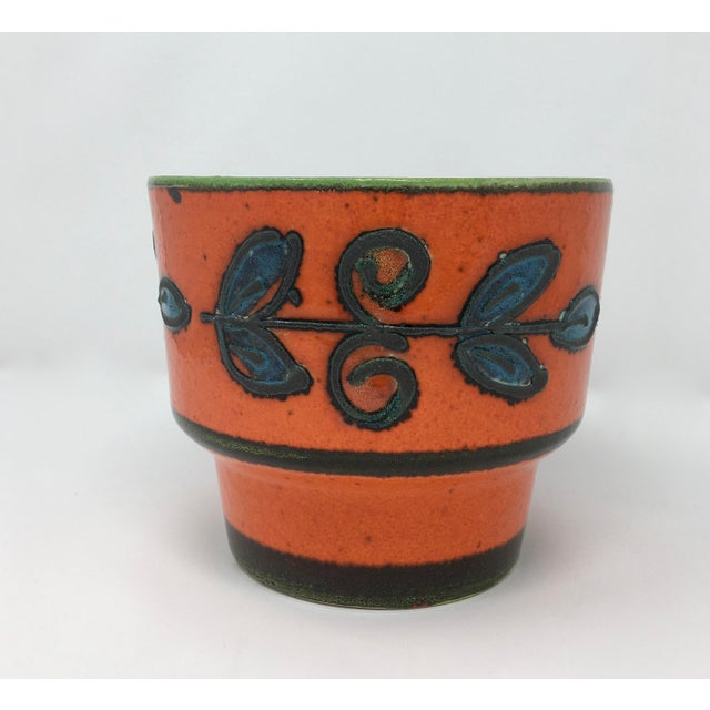 Mid-Century Vulcanic Glaze Red Ceramic Planter For Sale - Image 9 of 9