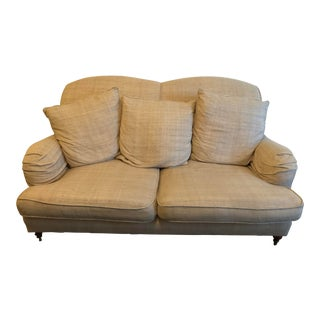 Ralph Lauren Wyland Linen Upholstered Sofa Loveseat For Sale