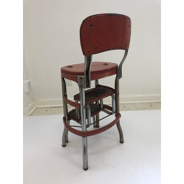Fabulous Vintage Industrial Red Metal Folding Step Stool Ncnpc Chair Design For Home Ncnpcorg