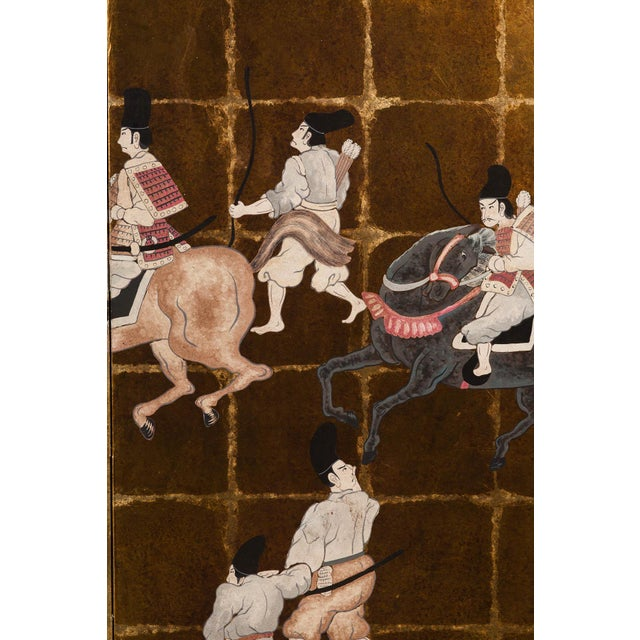 """Metal """"Samurai Dressed Parade"""" Japanese-Style 6-Panel Ink on Gold Foil Paper Folding Screen by Lawrence & Scott For Sale - Image 7 of 13"""