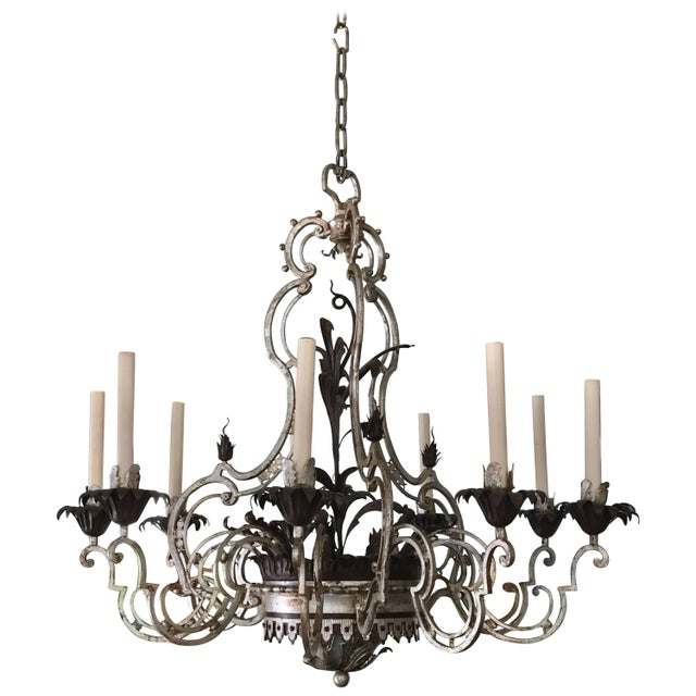Metal Wrought Iron Chandelier For Sale - Image 7 of 7