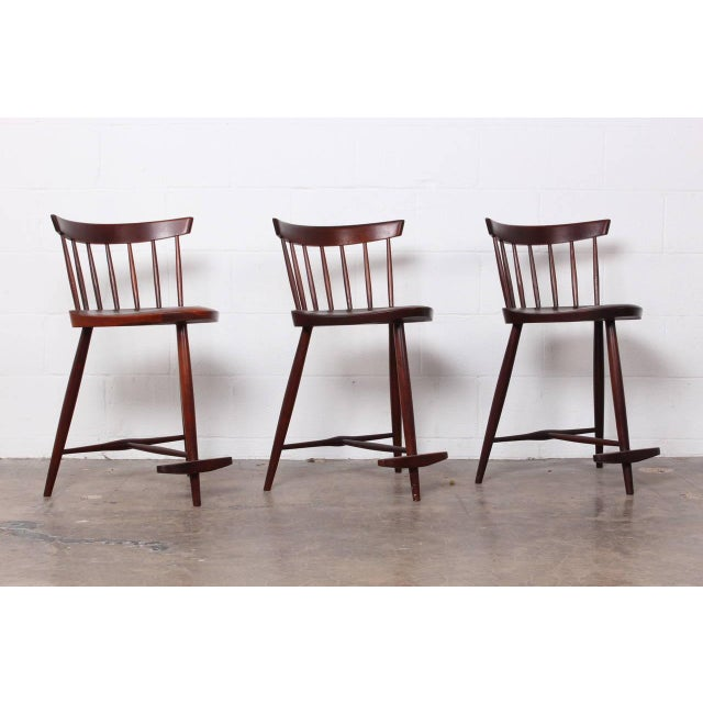 Walnut Set of Three Mira Barstools by George Nakashima For Sale - Image 7 of 10