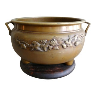 Antique Japanese Hibachi Bronze and Rosewood Planter For Sale