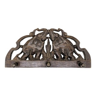 20th Century Hand Carved Wood Elephant Wall Hooks For Sale