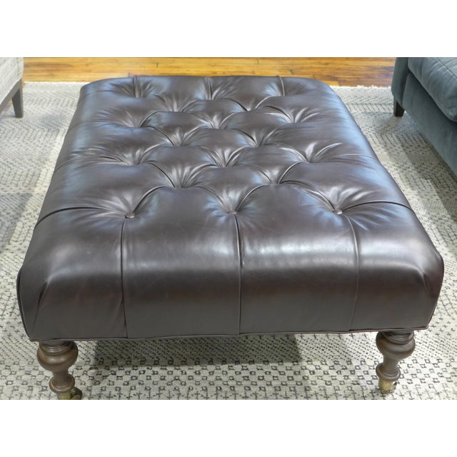 English Traditional Modern Dark Leather Tufted Ottoman/Coffee Table For Sale - Image 3 of 9
