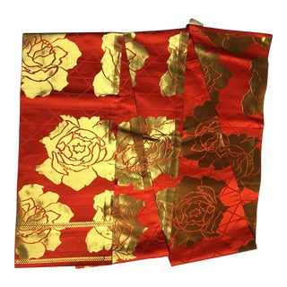Antique Red & Gold Silk Obi