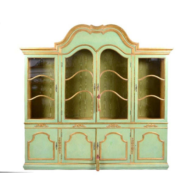 1960s Italian Baroque Style Parcel Gilt Green Painted Cabinet For Sale - Image 5 of 5