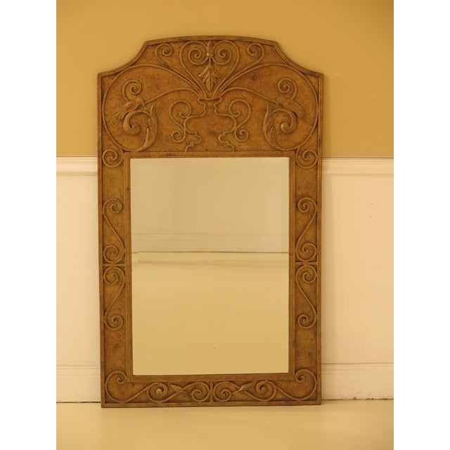 Glass Iron Paint Decorated Designer Mirror with Beveled Glass For Sale - Image 7 of 7