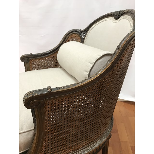 Sand Louis XVI Style European Mahogany Carved Blind Cane Chaise For Sale - Image 8 of 11