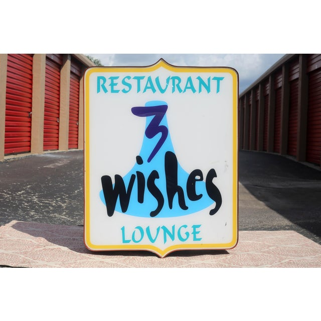 Vintage Illuminated Commercial Sign From 3 Wishes Restaurant and Lounge For Sale - Image 4 of 12