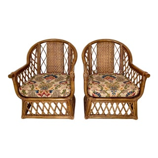 Vintage Woven Rattan Lounge Chairs- a Pair For Sale
