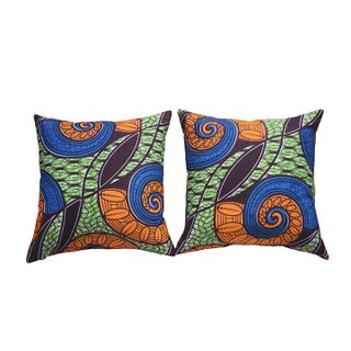 African Wax Accent Pillow Covers- A Pair For Sale