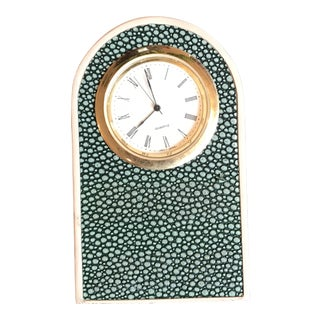 Faux Shagreen Green Art Deco Desk Clock For Sale