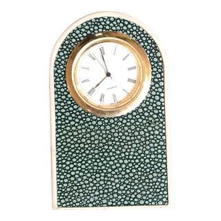 Faux Shagreen Green Art Deco Desk Clock
