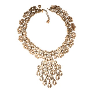 Monet Golden Filigree Drops Statement Bib Necklace For Sale