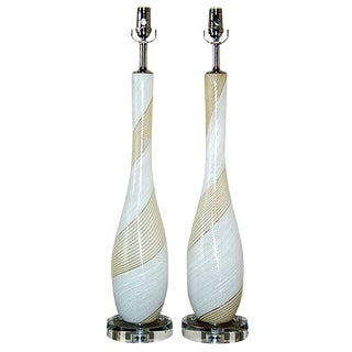 Dino Martens Vintage Murano Glass Table Lamps White For Sale