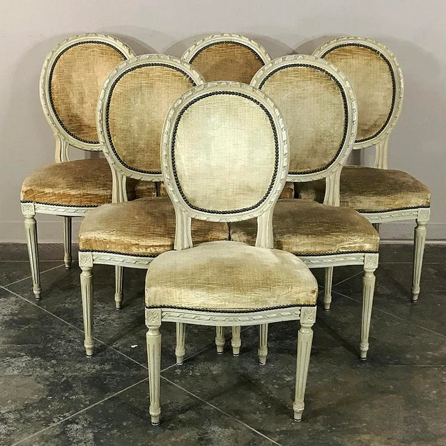 Set of 6 Antique French Painted Louis XVI Chairs For Sale - Image 13 of 13