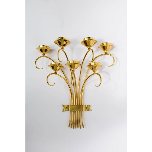 Mid-Century Modern Brass Sconces Wall Lights in the Manner of Tommi Parzinger For Sale - Image 3 of 10
