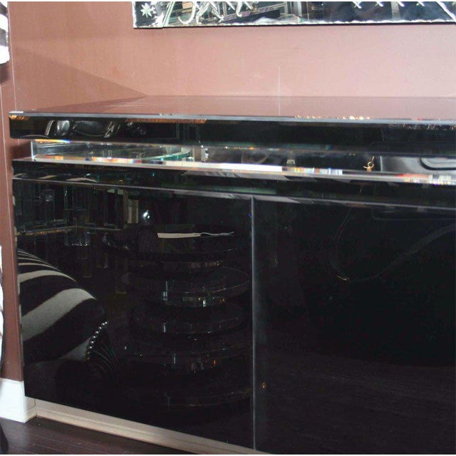 Modern Custom Black Mirrored Cantalever Credenza For Sale - Image 3 of 6