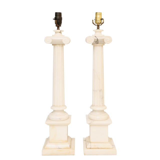 Pair of Carved Alabaster Columnar Form Table Lamps For Sale
