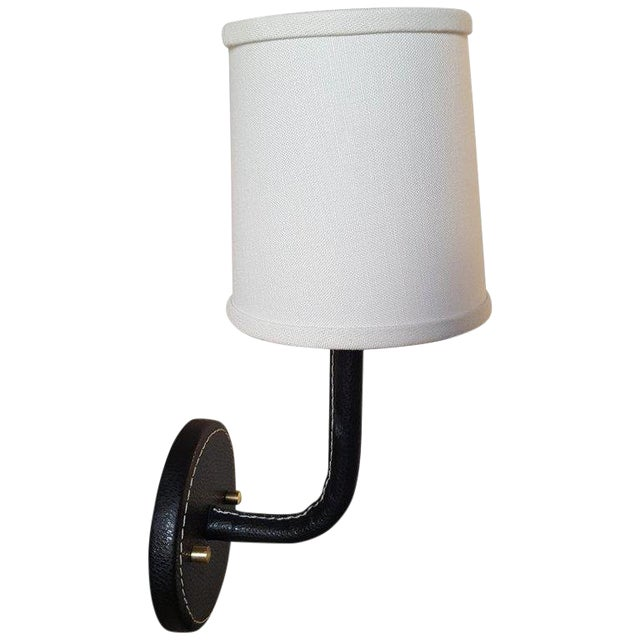 Paul Marra Black Top-Stitched Leather Wrapped Sconce For Sale