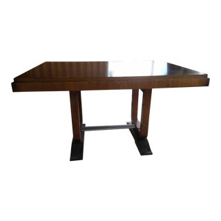 1930s French Art Deco Mahogany Dining Table For Sale
