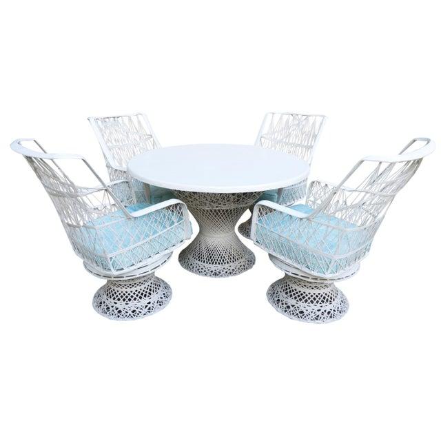 Boho Chic Kravet Upholstered Russell Woodard Spun Fiberglass Patio Dining Set For Sale - Image 3 of 13