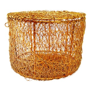 Vintage Metal Wire Mesh Round Gift Storage Box With Lid For Sale