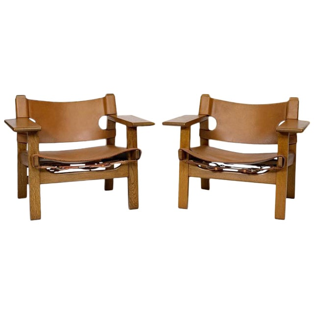 """Pair of Børge Mogensen """"Spanish"""" Chairs For Sale"""