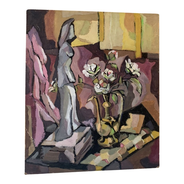 1960s Still Life of Figurine with Vase Painting For Sale