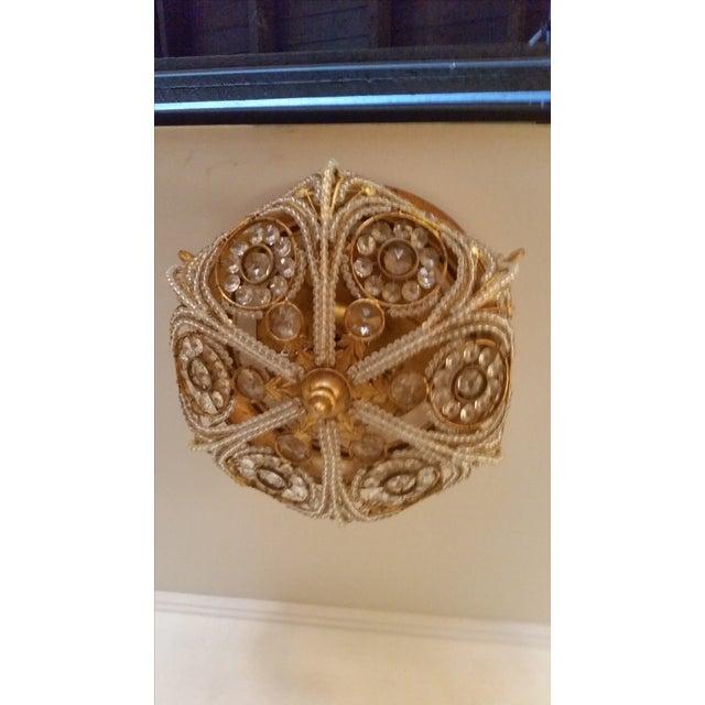 Ornate Gilt Metal &gol Crystal Ceiling Light - Image 5 of 7