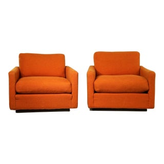 Thayer Coggin Cube Lounge Chairs Orange Lawson Style Attributed to Milo Baughman For Sale