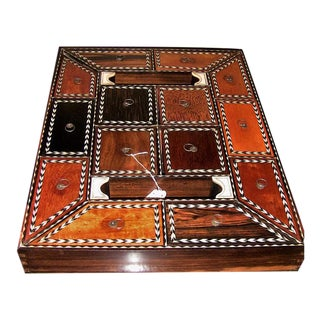 19c Anglo Ceylonese Specimen Wood Stationary Tray - Very Rare